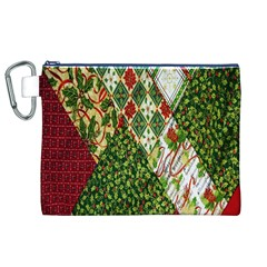 Christmas Quilt Background Canvas Cosmetic Bag (xl)