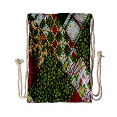 Christmas Quilt Background Drawstring Bag (Small)