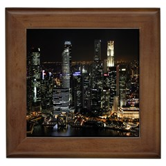 City At Night Lights Skyline Framed Tiles