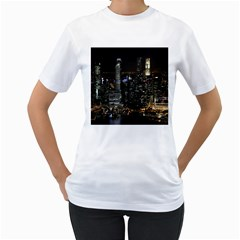 City At Night Lights Skyline Women s T-Shirt (White) (Two Sided)
