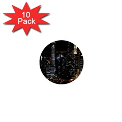 City At Night Lights Skyline 1  Mini Buttons (10 pack)