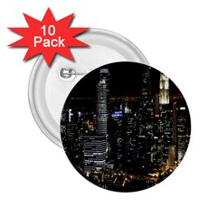 City At Night Lights Skyline 2.25  Buttons (10 pack)