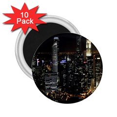 City At Night Lights Skyline 2.25  Magnets (10 pack)
