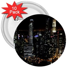 City At Night Lights Skyline 3  Buttons (10 pack)