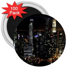 City At Night Lights Skyline 3  Magnets (100 pack)