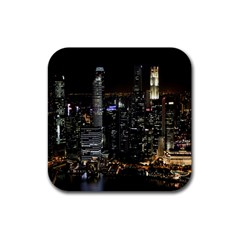 City At Night Lights Skyline Rubber Square Coaster (4 Pack)