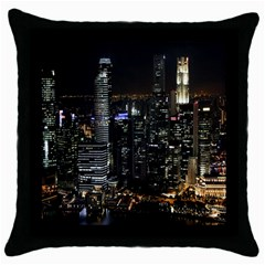 City At Night Lights Skyline Throw Pillow Case (Black)