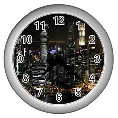 City At Night Lights Skyline Wall Clocks (Silver)