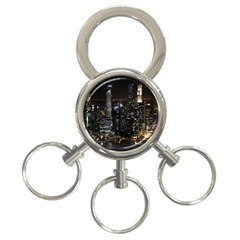City At Night Lights Skyline 3-Ring Key Chains