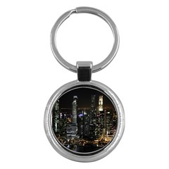 City At Night Lights Skyline Key Chains (Round)