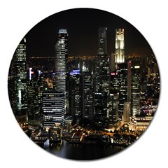 City At Night Lights Skyline Magnet 5  (Round)