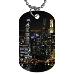 City At Night Lights Skyline Dog Tag (One Side)