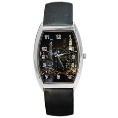 City At Night Lights Skyline Barrel Style Metal Watch