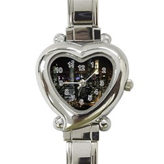 City At Night Lights Skyline Heart Italian Charm Watch