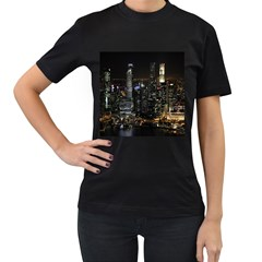 City At Night Lights Skyline Women s T-Shirt (Black) (Two Sided)
