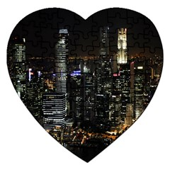 City At Night Lights Skyline Jigsaw Puzzle (Heart)
