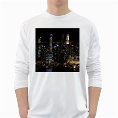 City At Night Lights Skyline White Long Sleeve T-Shirts