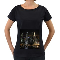 City At Night Lights Skyline Women s Loose-Fit T-Shirt (Black)