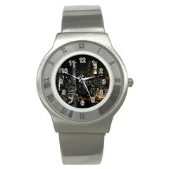 City At Night Lights Skyline Stainless Steel Watch