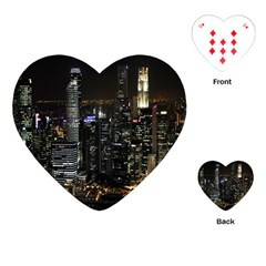 City At Night Lights Skyline Playing Cards (Heart)