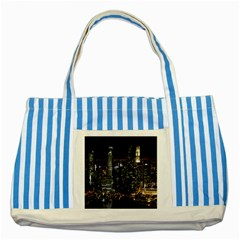City At Night Lights Skyline Striped Blue Tote Bag