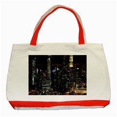 City At Night Lights Skyline Classic Tote Bag (Red)