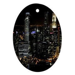 City At Night Lights Skyline Oval Ornament (Two Sides)