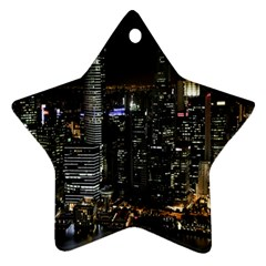 City At Night Lights Skyline Star Ornament (Two Sides)