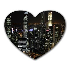 City At Night Lights Skyline Heart Mousepads