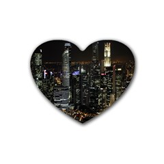 City At Night Lights Skyline Heart Coaster (4 pack)