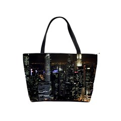 City At Night Lights Skyline Shoulder Handbags