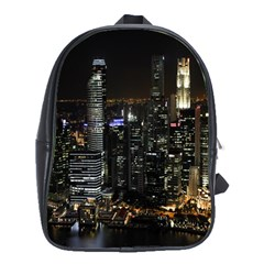 City At Night Lights Skyline School Bags(Large)