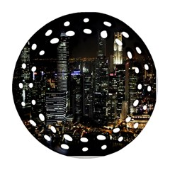 City At Night Lights Skyline Round Filigree Ornament (Two Sides)