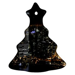 City At Night Lights Skyline Christmas Tree Ornament (Two Sides)