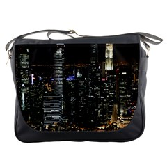 City At Night Lights Skyline Messenger Bags