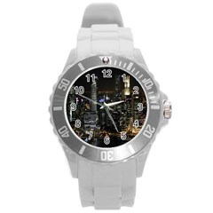 City At Night Lights Skyline Round Plastic Sport Watch (L)