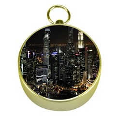 City At Night Lights Skyline Gold Compasses