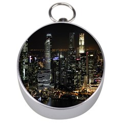 City At Night Lights Skyline Silver Compasses