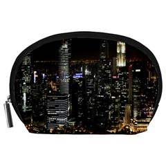 City At Night Lights Skyline Accessory Pouches (large)