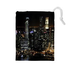 City At Night Lights Skyline Drawstring Pouches (Large)