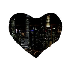 City At Night Lights Skyline Standard 16  Premium Flano Heart Shape Cushions