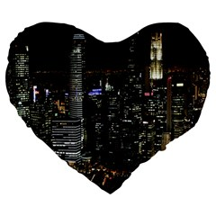 City At Night Lights Skyline Large 19  Premium Flano Heart Shape Cushions