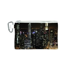 City At Night Lights Skyline Canvas Cosmetic Bag (S)