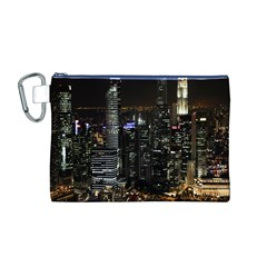 City At Night Lights Skyline Canvas Cosmetic Bag (M)
