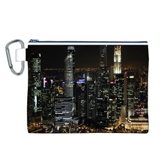 City At Night Lights Skyline Canvas Cosmetic Bag (L)