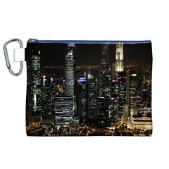 City At Night Lights Skyline Canvas Cosmetic Bag (XL)