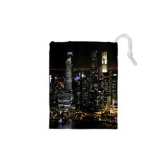 City At Night Lights Skyline Drawstring Pouches (XS)