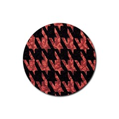 Dogstooth Pattern Closeup Rubber Round Coaster (4 pack)