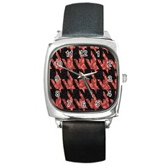 Dogstooth Pattern Closeup Square Metal Watch
