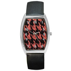 Dogstooth Pattern Closeup Barrel Style Metal Watch